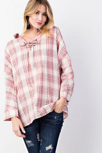 EASEL LACE UP FRONT AND BACK PLAID TUNIC SHIRT-TOPS-Lulu-Bela