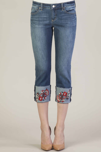 DEAR JOHN PLAYBACK CUFFED JEANS - Embroidered Cuffs