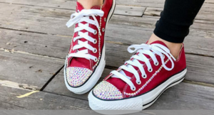RED SWAROVSKI CRYSTAL CONVERSE