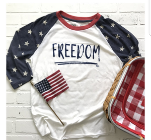 FREEDOM 3/4 SLEEVE BASEBALL T-SHIRT