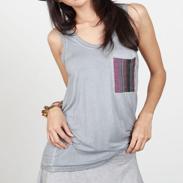 TANK TOP WITH TRIBAL POCKET