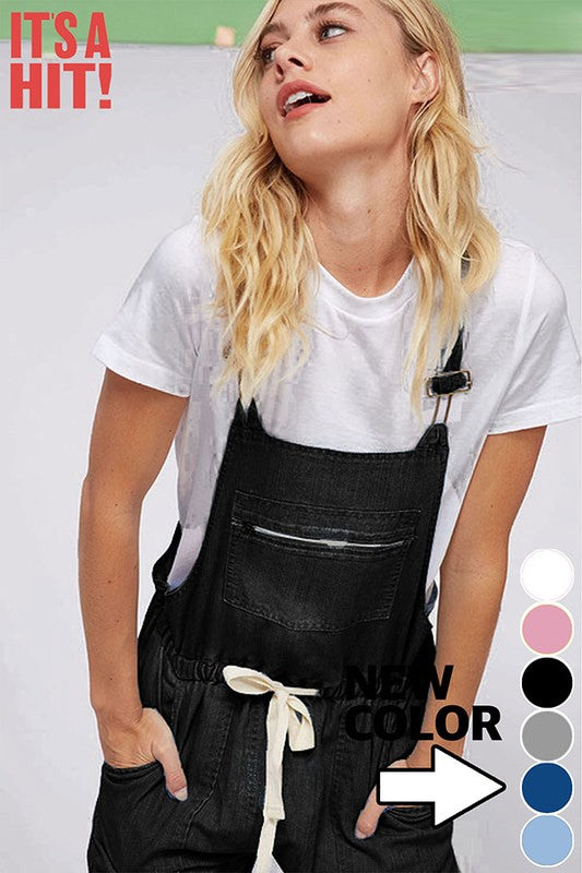 DENIM OVERALLS - BLACK