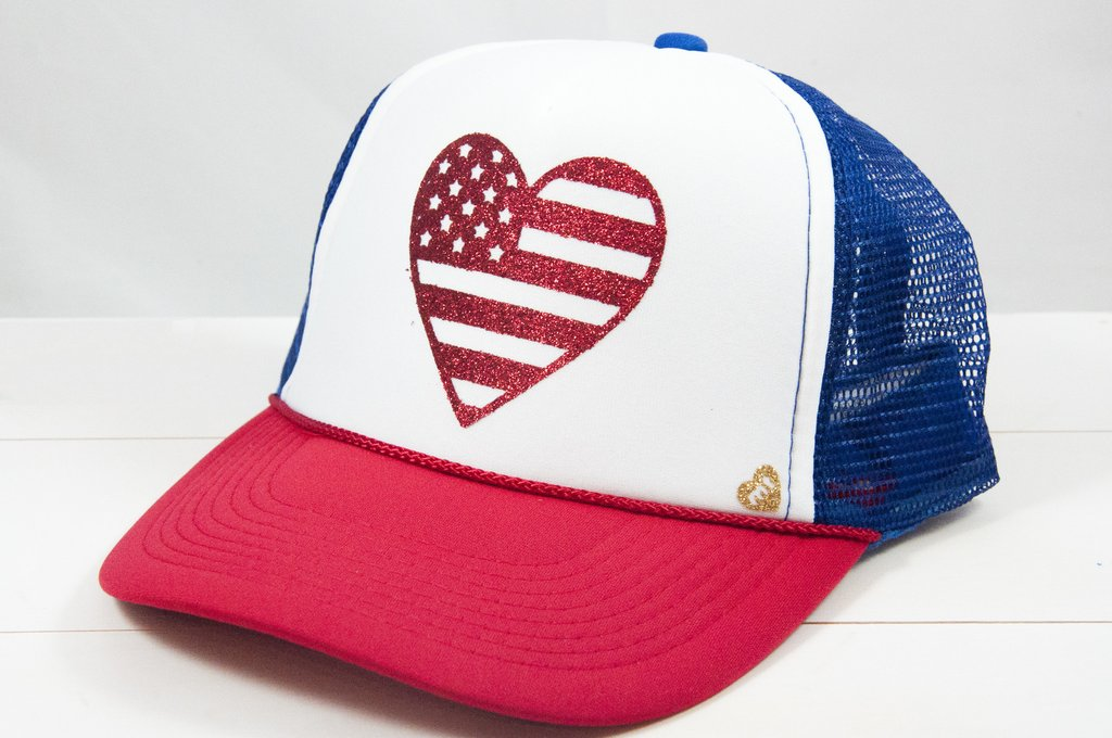 MOTHER TRUCKER - AMERICAN HEART FLAG HAT