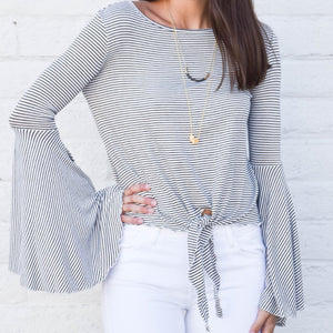 ELAN NAVY BELL SLEEVE TOP