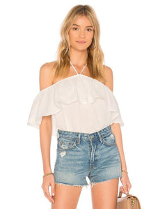 BB DAKOTA - EDMONDS HALTER TOP - WHITE