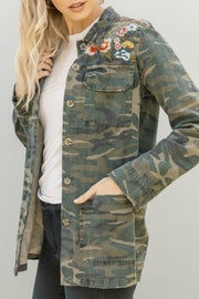 MYSTREE - CAMO PRINT JACKET/SHIRT W/ EMBROIDERY