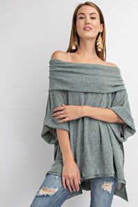 SHORT SLEEVES TEQUILA KNIT OVERSIZED COWL NECK TUNIC
