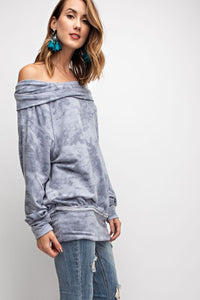 COWL NECK TIE DYE TERRY KNIT BANDED BOTTOM LOOSE FIT TOP
