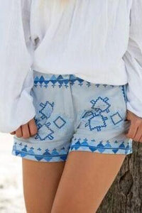 UofA BLUE MARLEE SHORTS-BOTTOMS-Lulu-Bela