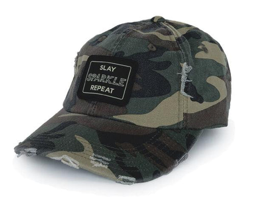 SLAY SPARKLE REPEAT - DISTRESSED HAT - CAMO