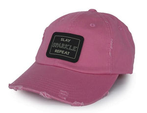 SLAY SPARKLE REPEAT - DISTRESSED HAT - PINK
