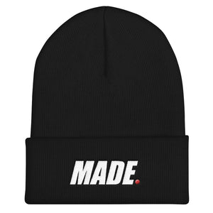 Made Beanie, Made Skully, Made Media TV Hat, Black Made Media TV cotton, white logo red dot