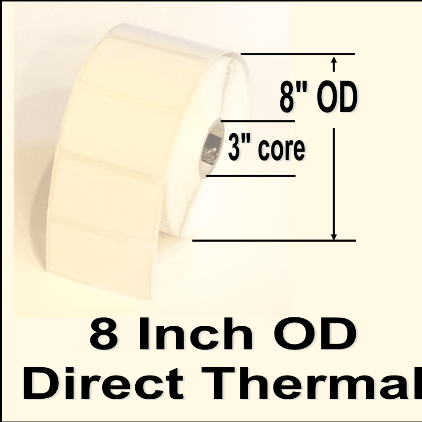 "680-IDT-4-8P, 4""w X 8""l, Direct Thermal blank white paper label, permanent adhesive, perforation between labels, 3"