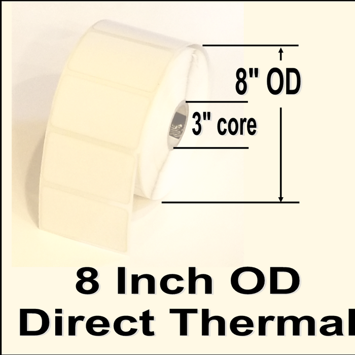 "680-IDT-4-65, 4""w X 6-1/2""l, Direct Thermal blank white paper label, permanent adhesive, NO perforation between labels, 3"