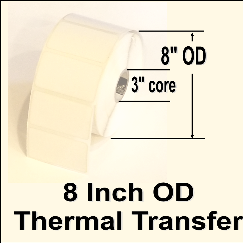 "620-STT-35-8, 3-1/2""w X 8""l, Thermal Transfer blank white paper label, permanent adhesive, NO perforation between labels, 3"