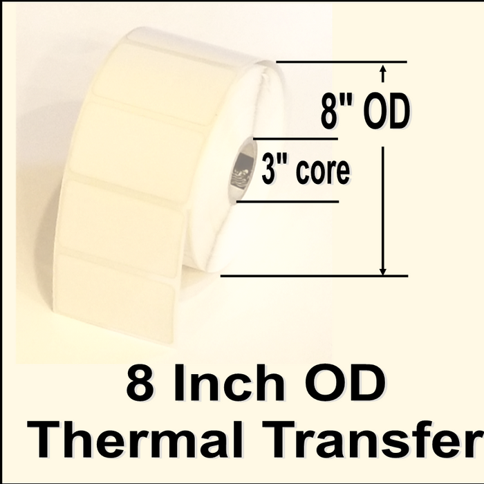 "620-STT-15-1, 1-1/2""w X 1"" l, Thermal Transfer blank white paper label, permanent adhesive, NO perforation between labels, 3"