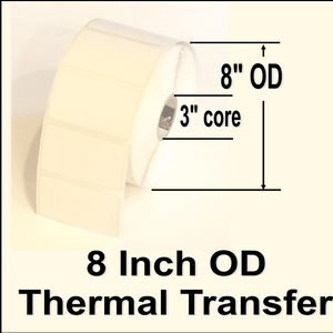 "640-TTT-4-65P 4"" X 6-1/2"" Thermal Transfer blank white paper label, perminent adhesive, perferation between labels, 3"" core, 8"" OD, 900 labels per roll, 4 rolls per case, Sold by the case"