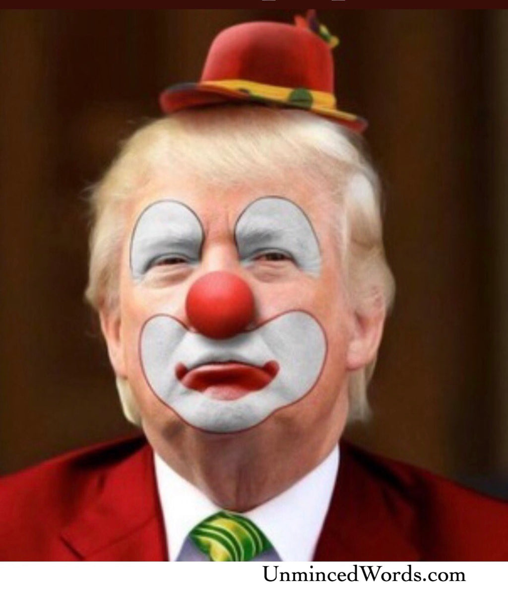 Clown Trump art shared by UnMinced Words