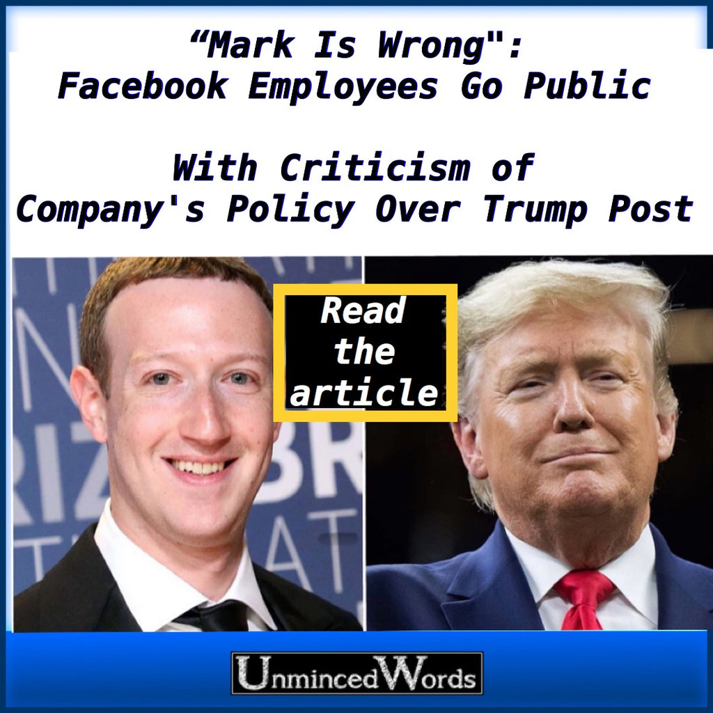"""Mark Is Wrong"": Facebook Employees Go Public With Criticism of Company's Policy Over Trump Post"