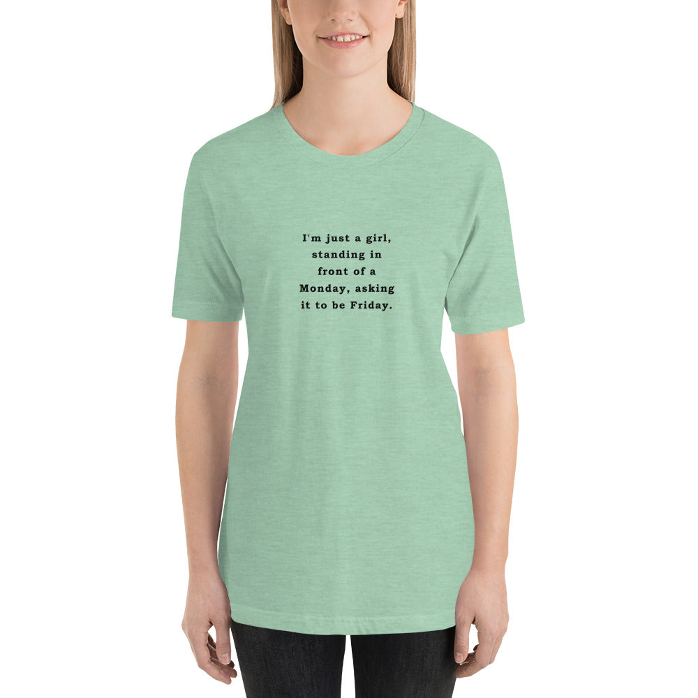 Just a Girl - Short-Sleeve Ladies' T-Shirt - Unminced Words