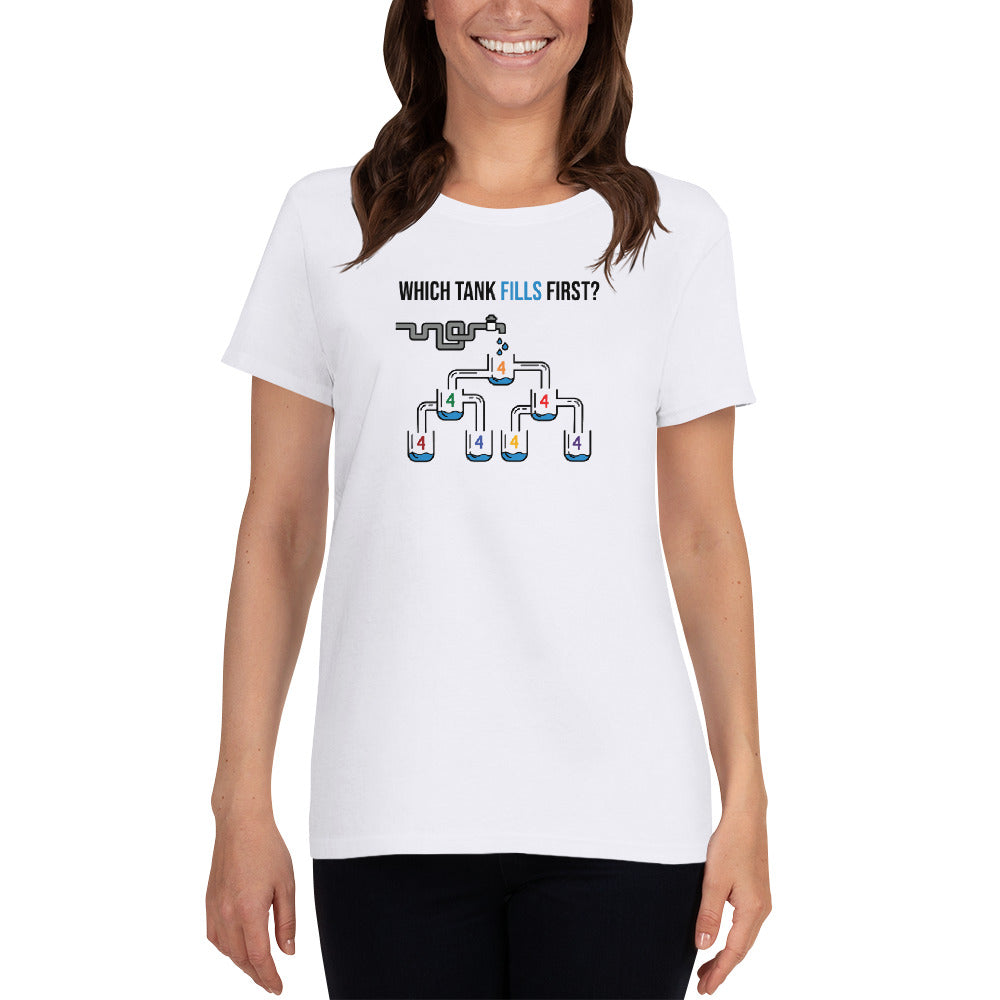 Which Tank Fills First? - Ladies Cotton Short Sleeve T-Shirt