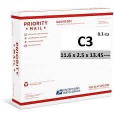 "Priority Mail Cubic Dimension Box (C3) 11.6"" x 2.5"" x 13.45"" (Side Loaded) (25 Pcs)"