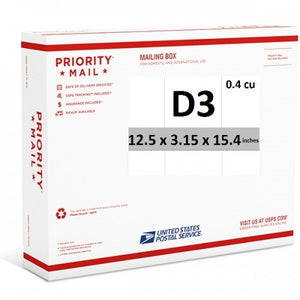 "Priority Mail Cubic Dimension Box (D3) 12.5"" x 3.15"" x 15.4"" (Side Loaded) (25 Pcs)"