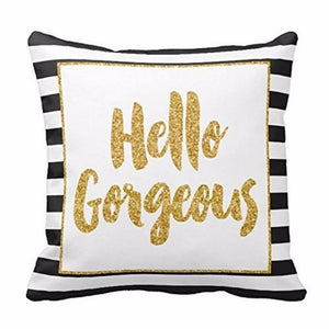 FIFTYSHADESOFDIVA Hello Glitter Throw Pillow