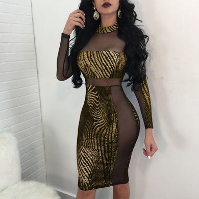 FIFTYSHADESOFDIVA Gold Mesh Dress
