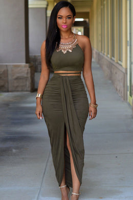 FIFTYSHADESOFDIVA Suede Two Piece Maxi Crop Top