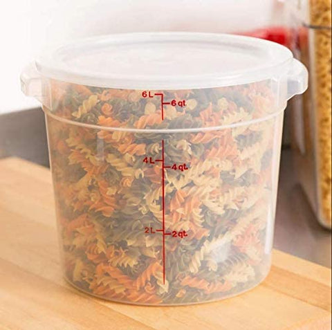 Cambro Camware Bundle 6 &12 Quart Translucent Round Food Storage Containers with Lids