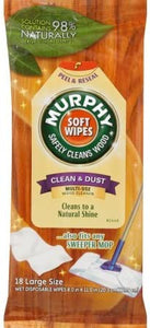 Murphy Oil Soap Soft Wipes, Wet, Disposable, Large Siize, 18 Count Each (Pack of 6)