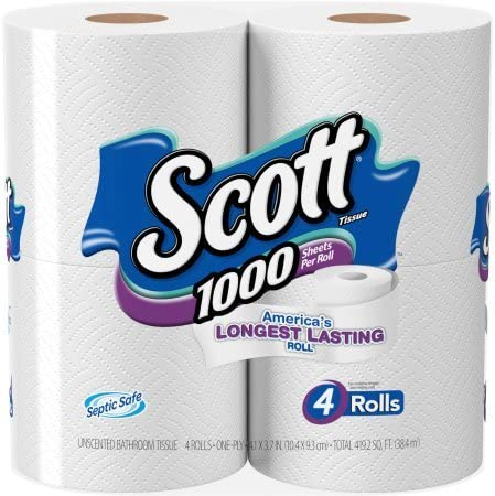 1000 Sheets Per Roll Toilet Paper, Bath Tissue, 4 Rolls by Scott