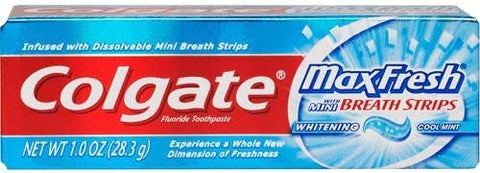 Image of Colgate Max Fresh Toothpaste Fluoride Mini Breath Strips Cool Mint 1 oz Travel Size ( Pack of 3)