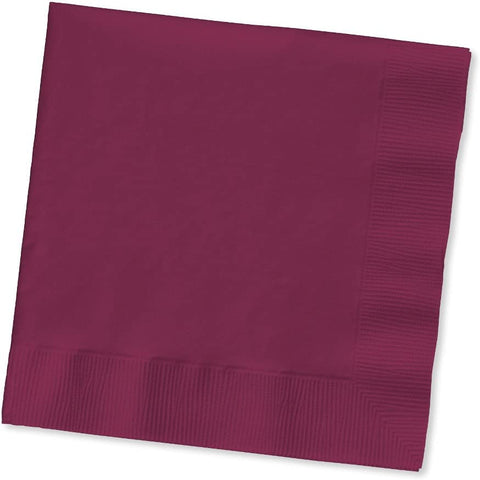 Creative Converting 50 Count Touch of Color Paper Beverage Napkins, Burgundy