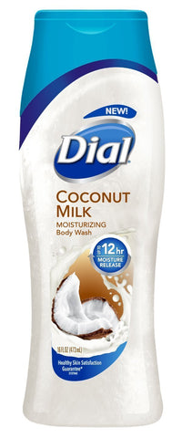 Dial Moisturizing Body Wash - Coconut Milk - 12 HR Moisture Release - Net Wt. 16 FL OZ (473 mL) Per Bottle - Pack of 4 Bottles
