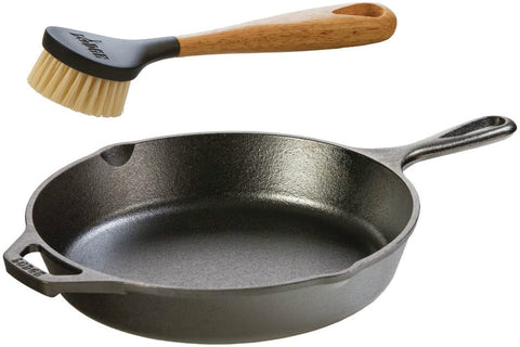 Image of Lodge Seasoned Cast Iron Skillet with Scrub Brush- 10.25 inches Cast Iron Frying Pan With 10 inch Bristle Brush