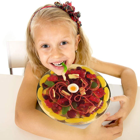 "Image of Raindrops Gummy Candy Pizza - 8.5"" of Yummy Toppings Made from Gummy Bears, Gummy Fruits, Licorice Ropes and More - Fun and Unique Candy Gifts (15.34 OZ)"