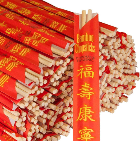 Image of RG Paper Premium Disposable Bamboo Chopsticks Sleeved and Seperated (100)