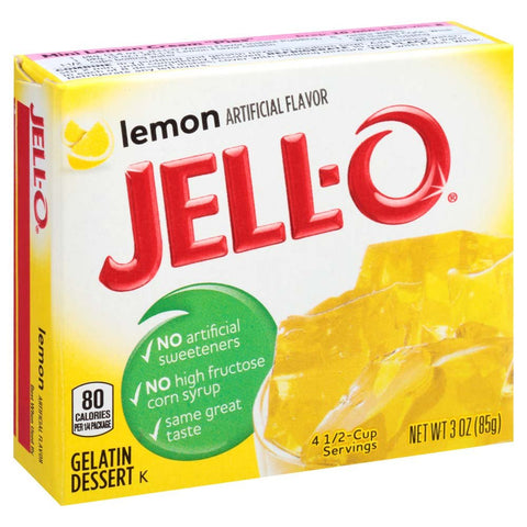 Jell-O Lemon Gelatin Mix 3 Ounce Box (Pack of 6)