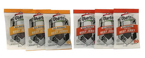 Image of Oberto All Natural Beef Jerky - Original and Teriyaki Beef Jerky .75 oz Snack Size (6 Pack)