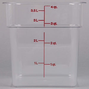 Cambro Polycarbonate Square Food Storage Containers 4 Quart With Lid - Pack of 2