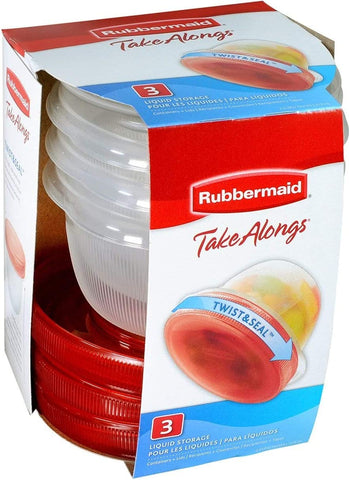 Rubbermaid TAKEALONG 3pc 2cup TWIST TOP, 1, Clear