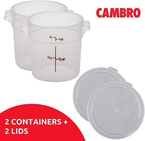Cambro 1 Quart Round Food Storage Containers, Translucent with Lids Bundle (2 Containers, 2 Lids)
