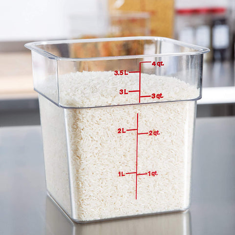 Image of Cambro Polycarbonate Square Food Storage Containers 4 Quart With Lid - Pack of 2