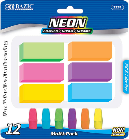 Image of BAZIC Neon Erasers