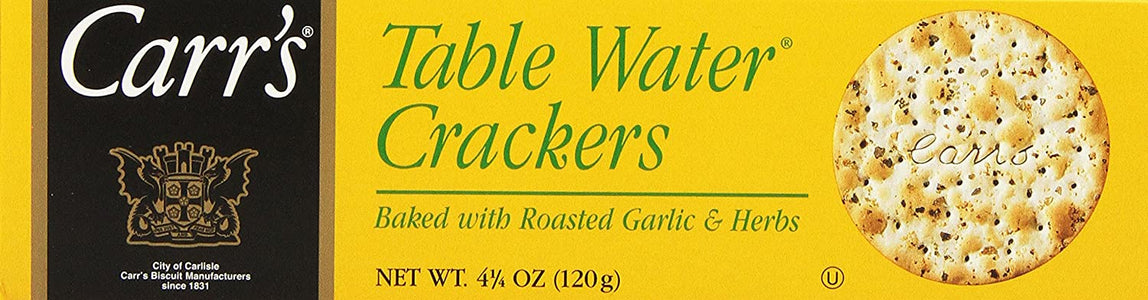 Carr's Table Water Crackers, Roasted Garlic & Herbs, 4.25-Ounce Boxes (Pack of 6)