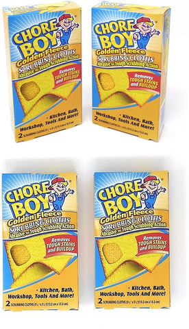 Image of Chore Boy Golden Fleece Scrubbing Cloths | 2-Units per Pack | 4-Pack | (Total of 8 Scrubbing Cloths)