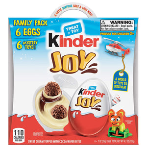 Kinder JOY Eggs, 6 Pack Individually Wrapped Chocolate Candy Eggs With Toys Inside, Perfect Surprise Halloween Treats for Kids, 4.2 oz