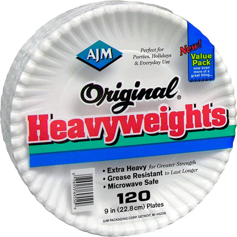 AJM Packaging Original Heavyweights Plates Table Ware, White